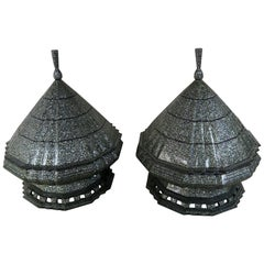 Monumental Mother-of-Pearl Pagoda Containers, Pair