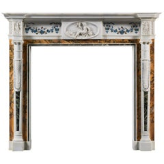 Late 18th Century Irish Neoclassical Statuary and Siena Marble Bossi Fireplace