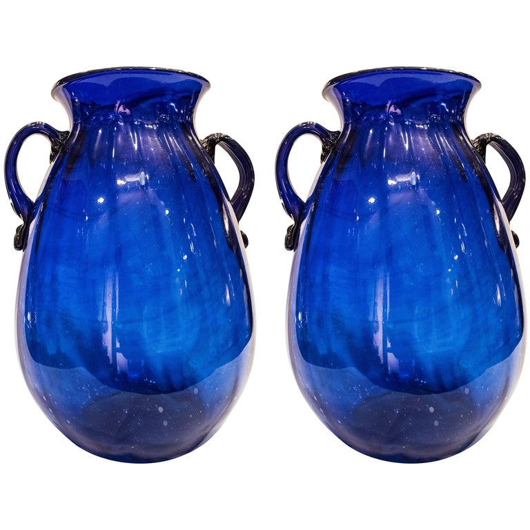 19th Century Murano Blue Crystal Italian Vases For Sale At 1stdibs