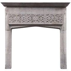17th Century English Jacobean Portland Stone Antique Fireplace Mantel