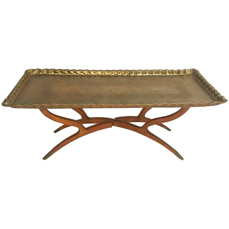 Brass Tray Coffee Table Vintage: Midcentury Moroccan Style Etched Brass Tray Coffee Table