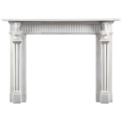 Good Antique Irish, Late 18th Century Neoclassical Statuary Marble Fireplace