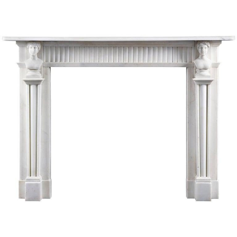 Good Antique Irish, Late 18th Century Neoclassical Statuary Marble Fireplace