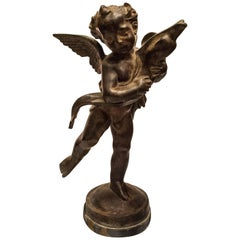 "19th Century Patinated Bronze French Sculpture ""Putti with a Dolphin"""