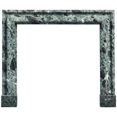 Antique Bolection Fireplace in Verde Antico Marble
