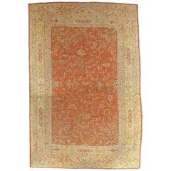 Antique Oushak Turkish Carpet, Handmade Coral, Ivory, Saffron