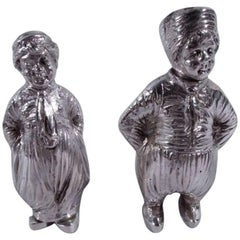 Pair of German Silver Country Children Salt and Pepper Shakers