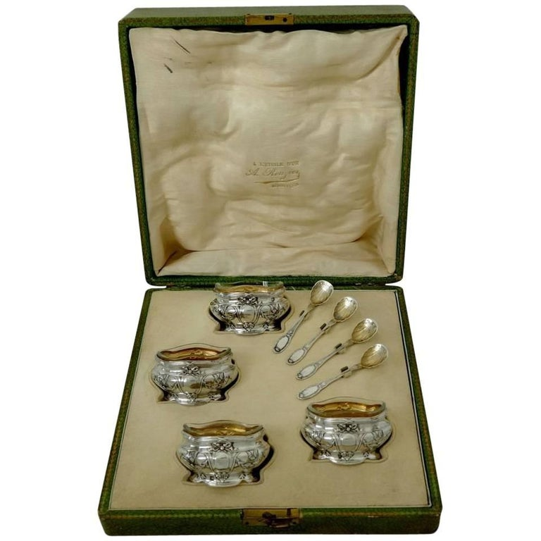 Coignet French Sterling Silver 18-Karat Gold Four Salt Cellars, Spoons, Box