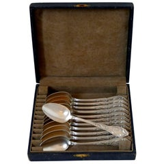 Boulenger Masterpiece French Silver Tea Coffee Spoons Set, Cocoa Bean, Box