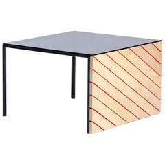 'Good Side' Coffee Table with Painted Ash Slats, Steel Frame and Glass Top