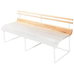 'Fogbench' with Gradated Solid Canadian Ash Dowels and Powder-Coated Steel Frame