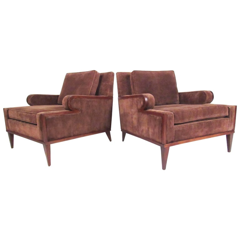 Pair of Vintage Modern Upholstered Club Chairs