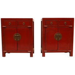 Pair of Red Lacquer Chests
