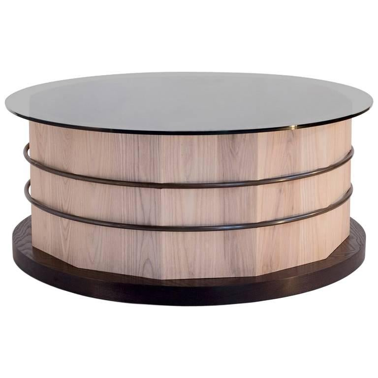 Hoop and Stave Coffee Table in Solid Canadian White Ash with Smoked Glass Top