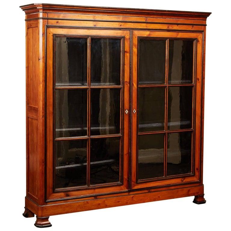 Pine China Cabinet Hutch: Original Unrestored Antique English Pine China Cabinet