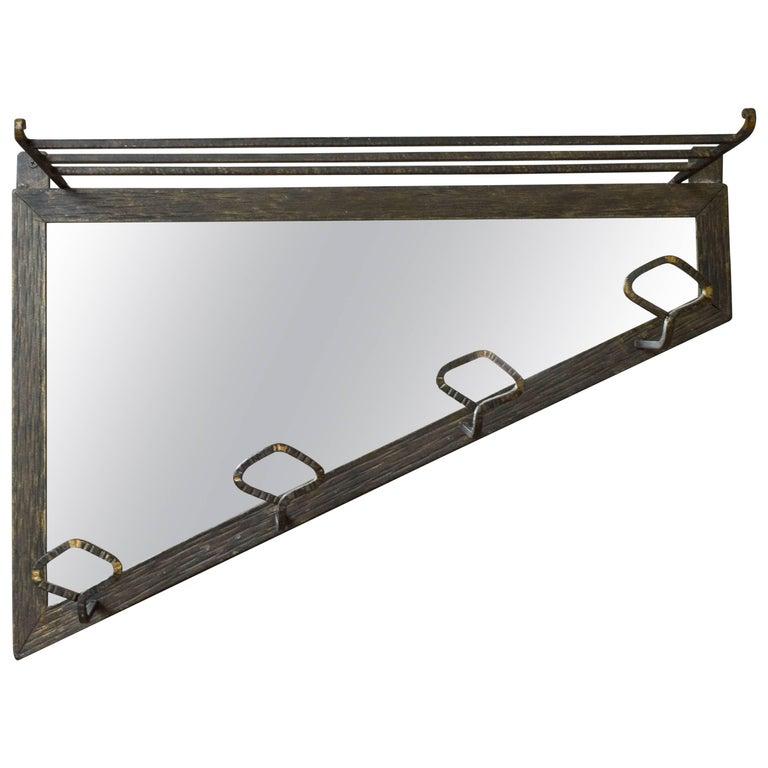 Art Deco Style Coat Rack with Mirror