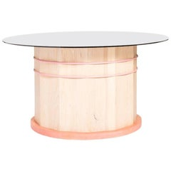Hoop and Stave Dining Table in Solid Canadian White Ash with Smoked Glass Top