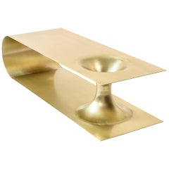Wormhole Coffee Table End Table in Brass Plated Steel by Erickson Aesthetics