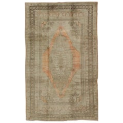 1940s Taupe Vintage Oushak Rug from Turkey with Light Salmon / Coral Medallion
