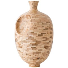 Contemporary American Dimpled Wooden Vase, Sculpture, Maple, Handmade, In Stock