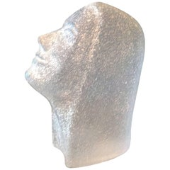 "Glass Sculpture of Woman Face in Profile Named ""Marketa"" by Miloslav Klinger"