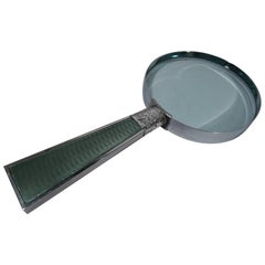 English Sterling Silver and Celadon Green Enamel Magnifying Glass