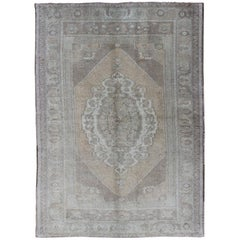 Muted Vintage Turkish Oushak Rug with Large Medallion Design in Gray and Taupe