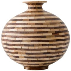 Contemporary American Striped Wooden Vase, Walnut Maple, Handmade, Available Now