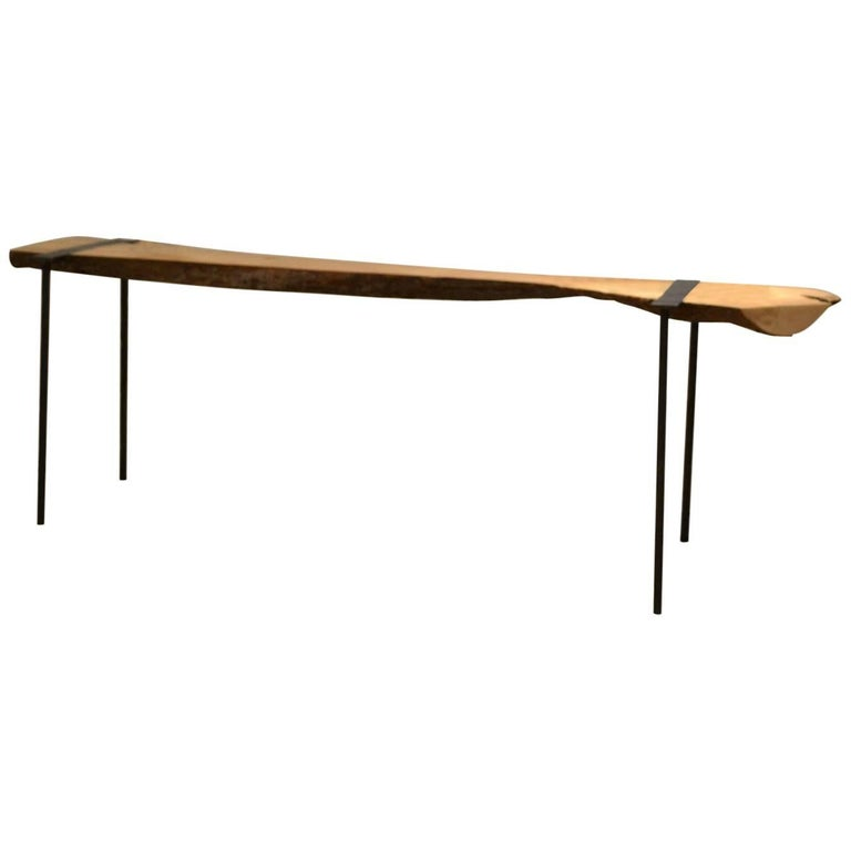 Charles Green Life Edge Wood Slab and Steel Console Table 1