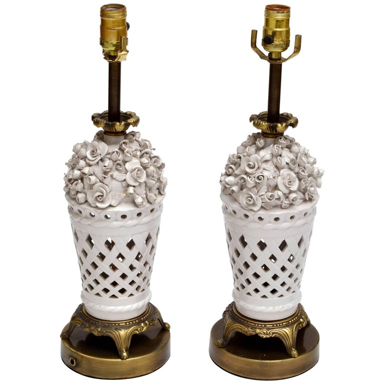 Porcelain and Bronze Table Lamps with Flowers, Pair For Sale