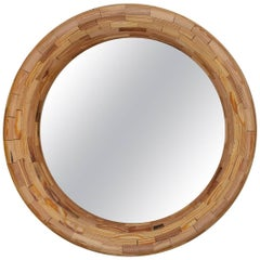 Contemporary American Round Wall Mirror, Heart Pine, Handmade, Available Now