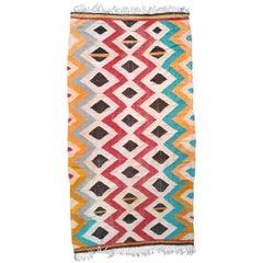 Vintage Moroccan Kilim, Flat-Weave Rug, 1980s