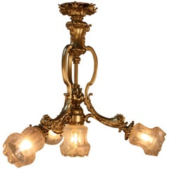 French 1920s Bronze Etched Glass Chandelier