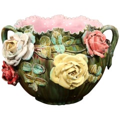 19th Century French Ceramic Barbotine Cachepot with Floral and Leaf Decor