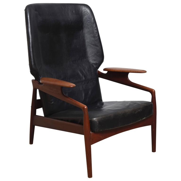 Danish Modern Reclining Lounge Wingback Chair at 1stdibs