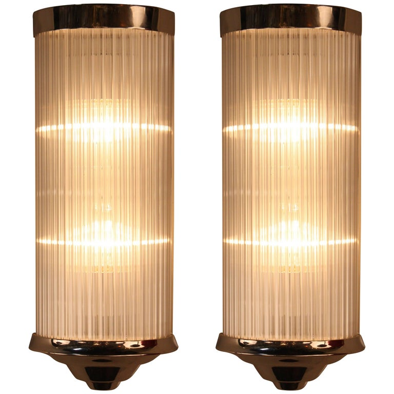 Pair of French Art Deco with Glass Rods Wall Sconces at 1stdibs