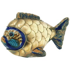 Petite Fish Sculpture in Brass and Ceramic Attributed to Sergio Bustamante