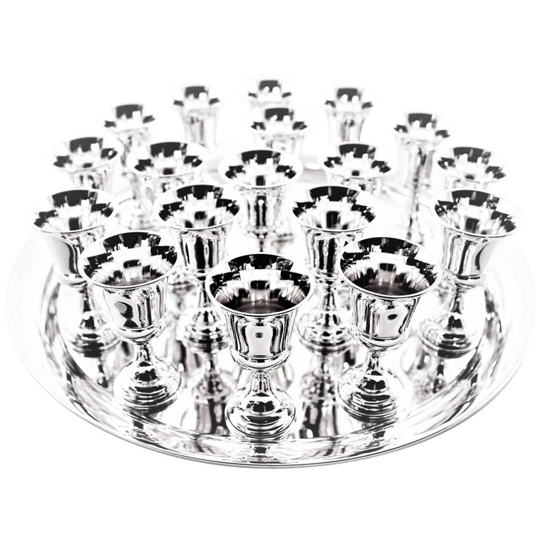 18 Cordials and Tray For Sale