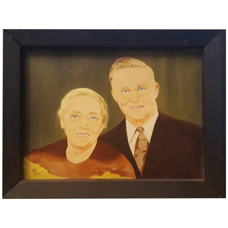 Blue Eyed Couple with Eye Glasses, Photo-Realistic 20th Century Oil Painting For Sale
