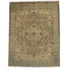 Vintage Persian Tabriz Rug with Modern Traditional Style
