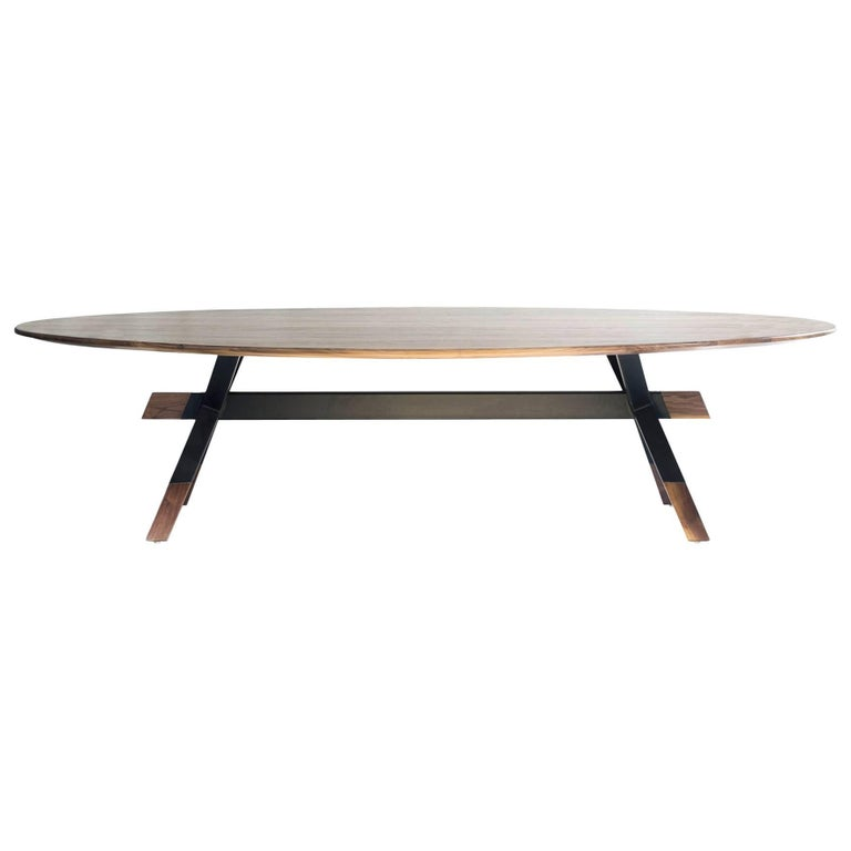 """""""Shawii"""" Contemporary Dining Table, Walnut and Powder Coated Steel For Sale"""