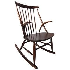Danish Rocking Chair Gyngestol No. 3 by Illum Wikkelsø for Niels Eilersen, 1950s