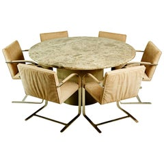 "Brueton Dining Set with 60"" Granite Table and Six Chrome Chairs, circa 1980"