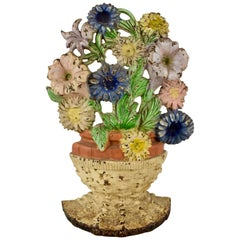 1930s Hubley Cast Iron Basket of Petunias & Asters Floral Bouquet Doorstop