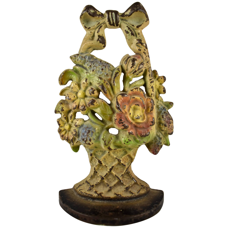 1930s Hubley Cast Iron Basket of Lilacs & Daisies Floral Bouquet Doorstop