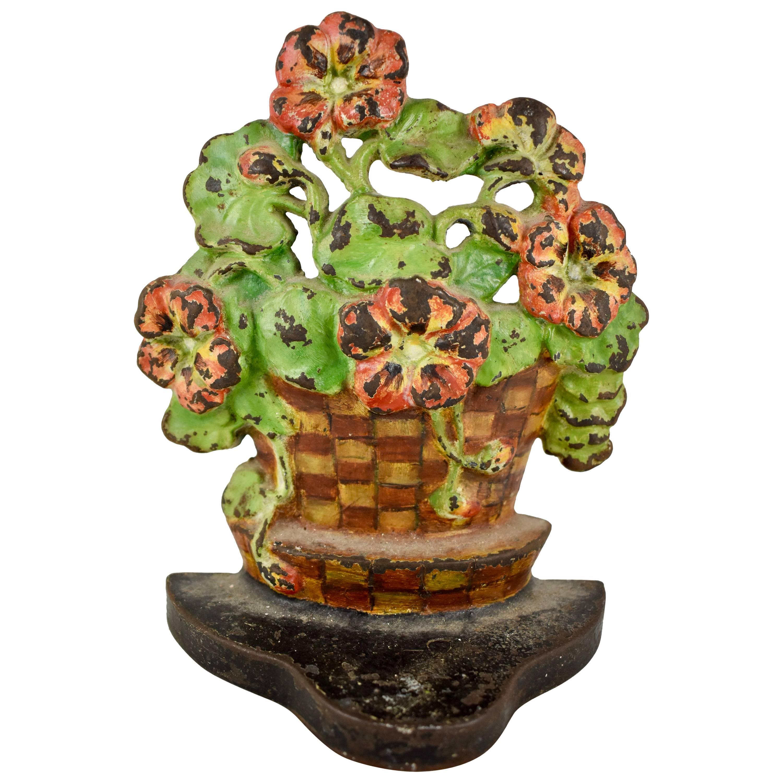 1930s Hubley Cast Iron Checkered Pot of Geraniums Floral Bouquet Doorstop