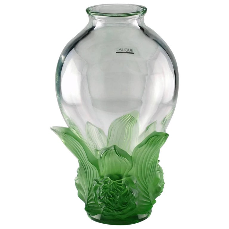 Lalique Signed And Numbered Limited Edition Clear And Satin Green