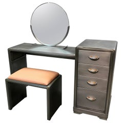 Norman Bel Geddes For Simmons Art Deco Brushed Steel Vanity Desk Set