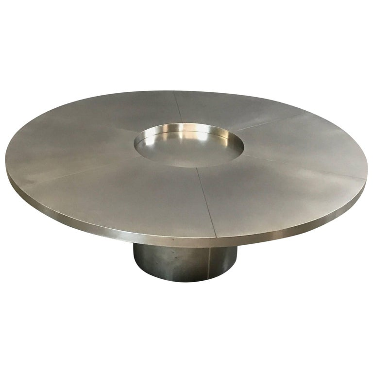 Modernist Round Stainless Steel Coffee Table