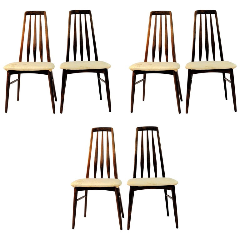 1960s Set of Six Niels Koefoed Dining Chairs Model Eva by Koefoeds Mobelfabrik